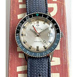 Vintage Zodiac Aerospace GMT Automatic Blue and Black Bezel Silver Dial Watch