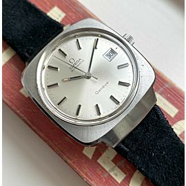 Vintage Omega Geneve Automatic Silver Dial Quickset Date Oversized Case Watch