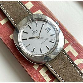 "Vintage Omega De Ville Automatic Silver Dial Oversized Steel ""Egg"" Case Watch"