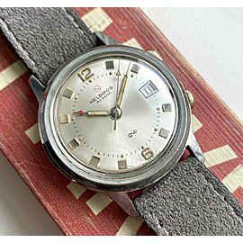 Vintage Helbros Alarm Manual Wind Silver Dial Dual Crown Steel Case Watch