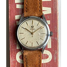 Vintage Omega Automatic Cream Patina Dial Steel Case Watch