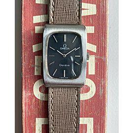 Vintage Omega Geneve Tank Manual Wind Black Dial Steel Case Watch