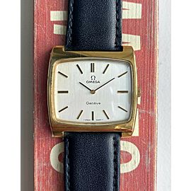 Vintage Omega Geneve Tank Manual Wind Silver Dial Gold Plated Oversized Watch