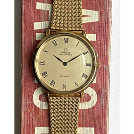 Vintage Omega De Ville Automatic Gold Roman Numeral Oversized Gold Plated Watch