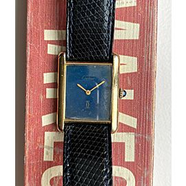 Vintage Cartier Tank Manual Wind Blue Dial 18K Gold Electroplated Case Watch