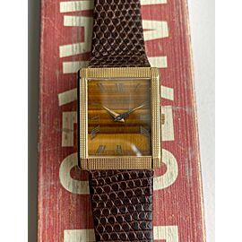 Vintage Piaget Tank Manual Wind Tiger Eye Dial 9151 18K Yellow Gold Case Watch