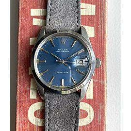 Vintage Rolex Oysterdate Precision 6694 Manual Wind Blue Dial Steel Case Watch