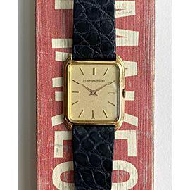 Vintage Audemars Piguet 18K Yellow Gold Tank Manual Wind Textured Dial Watch