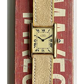 Vintage Cartier Tank Manual Wind Lemon Roman Numeral Dial w Box and Papers Watch