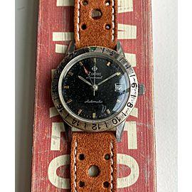 Vintage Zodiac 1962 Aeronaut GMT Automatic Gilt Black Dial Steel Case Watch