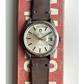 """Vintage Tudor Oyster Prince Date Day 38mm """"Jumbo"""" Silver Dial Steel Case Watch"""