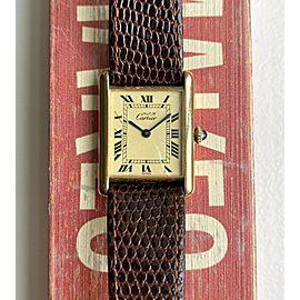 Cartier Tank Vintage Manual Wind Lemon Roman Numeral Dial 18K Electroplate Watch