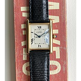 Cartier Tank Ref 2413 White Roman Numerals Quickset 18K Electroplated Case Watch