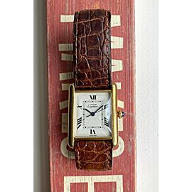 Cartier Tank Ref 2413 White Roman Numerals Date 18K Electroplated Case Watch