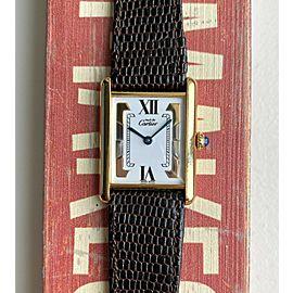 Cartier Tank Quartz Tri Tone White Roman Numeral 18K Gold Electroplated Watch