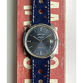 Vintage Longines Admiral Automatic Grey Sunburst Dial Quickset Date Steel Watch