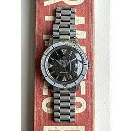 Vintage Zodiac Sea Wolf Automatic Black Gilt Dial Bakelite Bezel Diver Watch