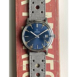 Vintage Omega Automatic Sunburst Blue Dial Patina Markers Steel Case Watch