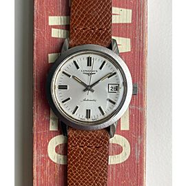 Vintage Longines Automatic Brushed Silver Dial Quickset Date Steel Case Watch