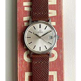 Vintage Omega Automatic Sunburst Silver Dial Quickset Date Steel Case Watch
