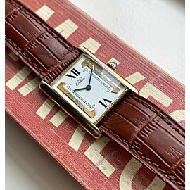 Cartier Tank Quartz Trinity White Roman Numeral Dial 18K Gold Electroplate Watch