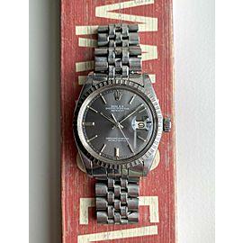 Vintage Rolex Datejust 70s 1603 Automatic Grey Sunburst Dial Oyster Case Watch