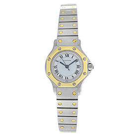 Cartier Santos Octagon Ladies 24MM Steel 18K Yellow Gold Automatic Watch