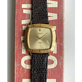 Vintage Rolex Cellini Tank Manual Wind 18K Yellow Gold Champagne Dial Watch
