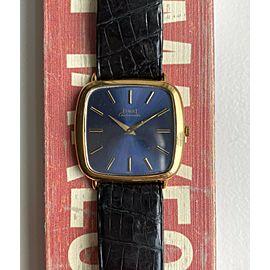 Piaget Ref #12772 18K Yellow Gold Automatic Sunburst Blue Dial Square Case Watch