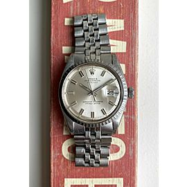 """Vintage Rolex Datejust Automatic 36mm Silver """"Wideboy"""" Dial Steel Case Watch"""