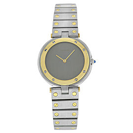 Cartier Santos Ronde Mens Unisex 32MM 18K Yellow Gold Steel Quartz Watch