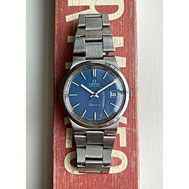 Vintage Omega Geneve Automatic Blue Dial Quickset Date w/ Bracelet Watch
