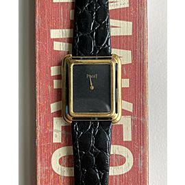 Piaget Tank 18K Yellow Gold Black Dial Manual Wind Onyx Stone Bezel Watch