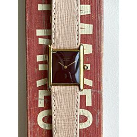 Vintage Cartier Tank Quartz 18K Electroplated Case Rare Red Dial Watch