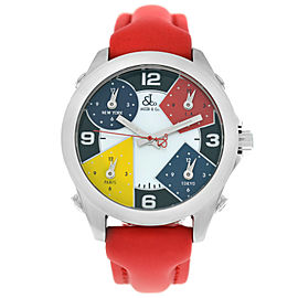 Jacob & Co. Five 5 Time Zone JCM-4 MOP Stainless Steel 40MM Watch Red Strap