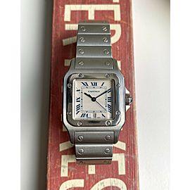 Vintage Cartier Santos Galbee 1564 Quartz White Roman Numeral Dial Steel Watch