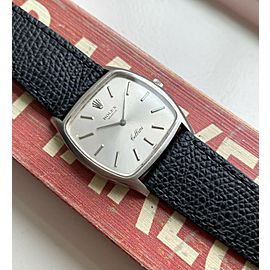 Vintage Rolex Cellini Ref 3805 Manual Wind 18K White Gold Silver Dial Watch