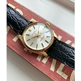 Vintage Rolex Oyster Perpetual 1005 Automatic Silver Dial 18K Yellow Gold Watch