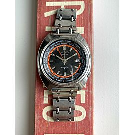 Vintage Seiko World Time GMT 70s Ref 6117-6400 Automatic Black Dial Steel Watch