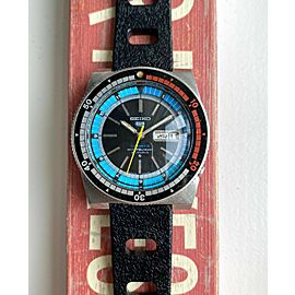 """Vintage Seiko 5 Rally Diver """"Arabic"""" Automatic Multi-Color Oversized Steel Watch"""