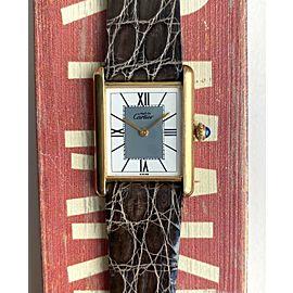 Vintage Cartier Tank Vermeil Quartz Gold Case Grey Roman Numeral Dial Watch