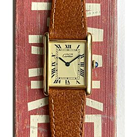 Vintage Cartier Tank Manual Wind Lemon Roman Numeral Dial Electroplated Watch