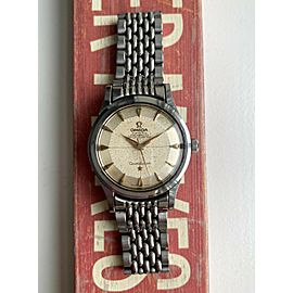 Vintage Omega Constellation Automatic Cream Crosshair Patina Dial Steel Watch