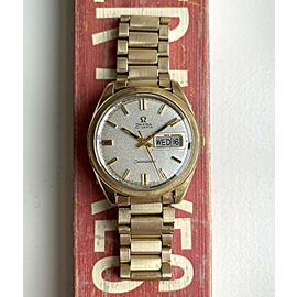 Vintage Omega Seamaster Jumbo 166.032 Automatic Daydate Textured Dial Gold Watch