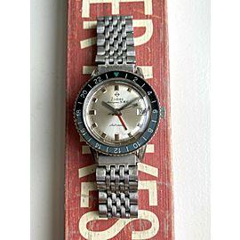 Vintage Zodiac 60s Aerospace GMT Automatic Blue Bezel Silver Dial Watch