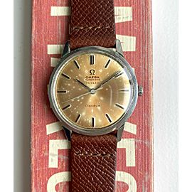 """Vintage Omega Geneve """"Turler"""" Signed Automatic Silver Patina Dial Steel Watch"""