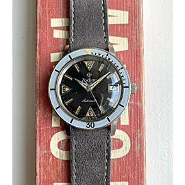 Vintage Zodiac Sea Wolf 50s Automatic Black Gilt Dial Bakelite Bezel Diver Watch
