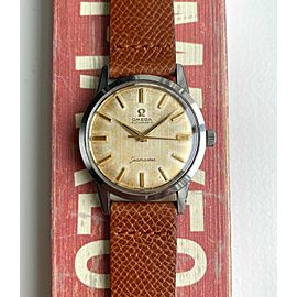 Vintage Omega Seamaster Automatic 60s Cream Linen Patina Dial Steel Case Watch