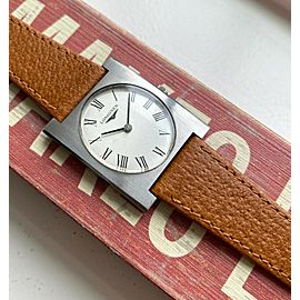 Vintage Longines Tank Manual Wind Silver Roman Numeral Dial Steel Case Watch