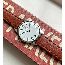 Vintage Universal Geneve Manual Wind White Roman Numeral Dial Steel Case Watch